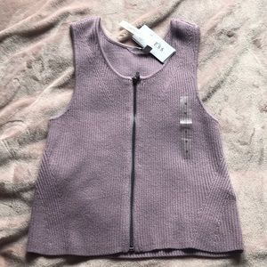 Lavender zip up crop top from Guess
